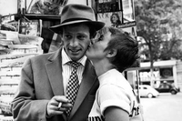 Jean Seberg kisses Jean-Paul Belmondo in Breathless (1960).