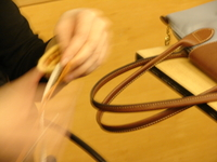 One of our basketry students in a blur of creating.