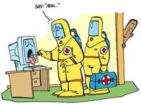Sick computer being inspected by doctors in haz-mat suits