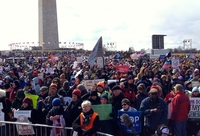 Image of a large crowd on the Washington Monument Mall