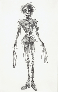Tim Burton's sketch of his character Edward Scissorhands