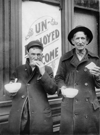 Two men dining at a soup kitchen in Denver. Courtesy WHG Photo Coll.