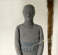 "Contemporary knitted artwork by Freddie Robin entitled, ""Craft Kills"""
