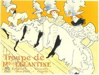 Toulouse Lautrec's vision of the dancers at The Moulin Rouge.