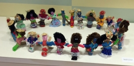 Sculptures representing family, created by children in DPL's Plaza program