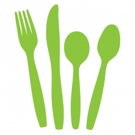 fork, knife, soup spoon, and regular spoon