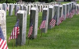 Gravestones with flags