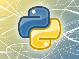 Python logo on blue and yellow wallpaper