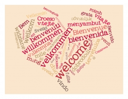 Heart-shaped graphic with Welcome in different languages