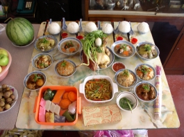 Food offered to the ancestors during the Hungry Ghost festival