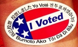 "Sticker with ""I voted"" in different languages"