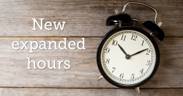 Clock with words: New expanded hours