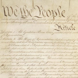 Image of the Constitution, showing the words We The People