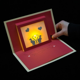 Red Valentine card with yellow LED light