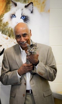 Dr. Aubrey Lavizzo holding a kitten.