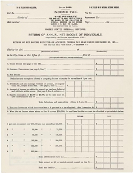 Original 1040 form, from 1913