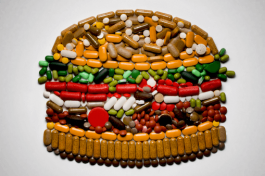 A hamburger mosaic made of pills