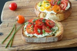 bruschetta with tomatoes and fresh ricotta