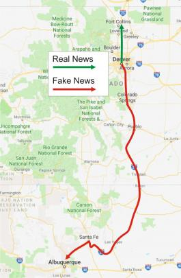 Fake news travel map