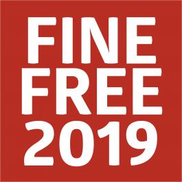 "Red box with words, ""Fine Free 2019"""
