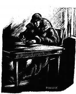 Woodcut of writer at table.