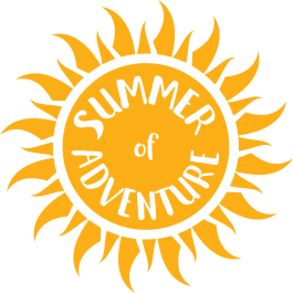 "Illustrated sun with words, ""Summer of Adventure"""