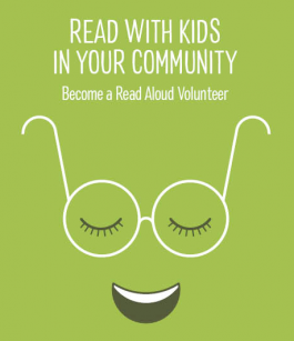 Image with text asking to become a Read Aloud volunteer