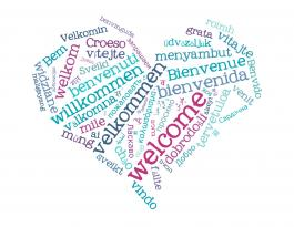 "Heart with the word ""welcome"" in different languages"
