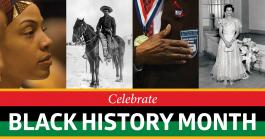 Four images of African Americans and the words Black History Month