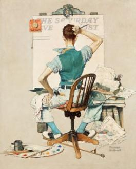 Norman Rockwell at work - Blank Canvas