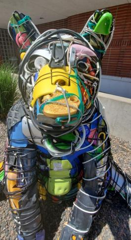 close up of multicolored bear sculpture made of recycled materials