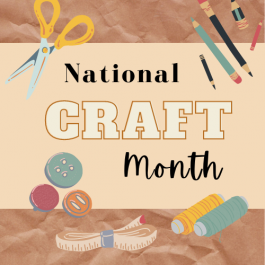 Craft month text with icons of craft supplies