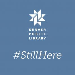 #stillhere blue graphic with library logo