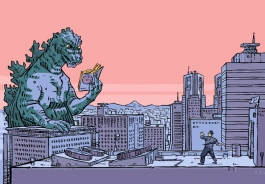 image of godzilla reading by Olivier Pichard