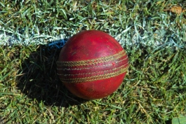 Photo of a cricket ball (creative commons).