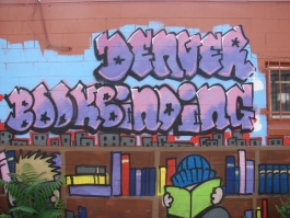 Sample of the graffiti art the embellishes the Denver Bookbinding Company