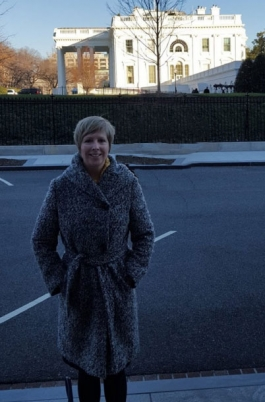 City Librarian Michelle Jeske outside the White House