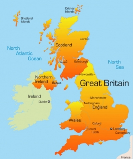 Map of the UK: England, Wales, Scotland, Northern Ireland.