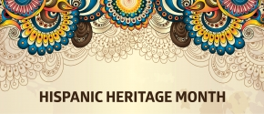 Colorful graphic with words Hispanic Heritage Month