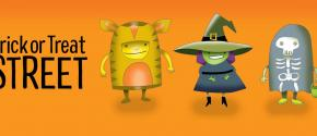 "Cartoon Halloween characters with the words ""Trick or Treat Street"""