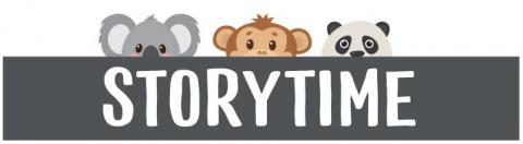 """STORYTIME"" in white text with black banner background, and a koala, monkey, and panda all peeking up over the banner"
